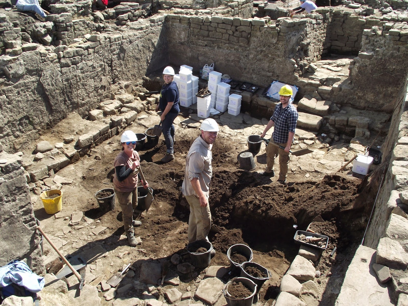 Archaeologists working on Roman baths
