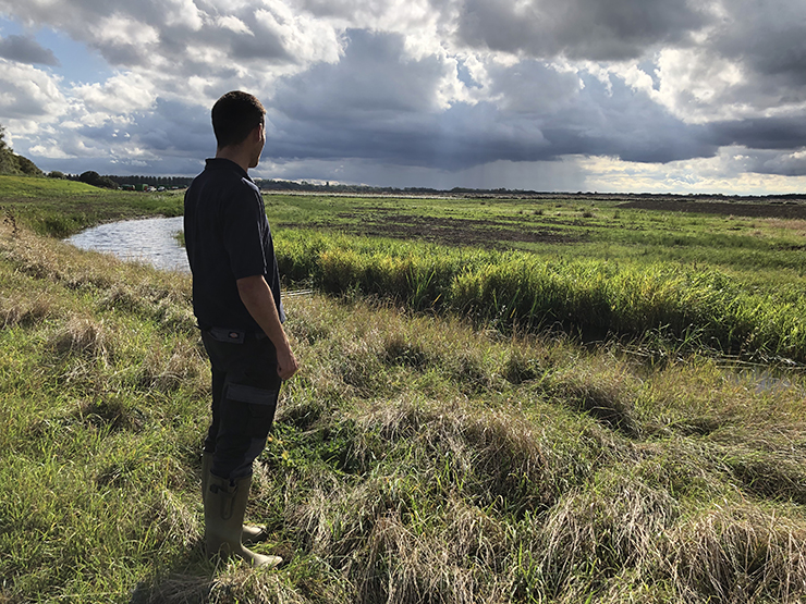 Man looking out over Carlton Marshes