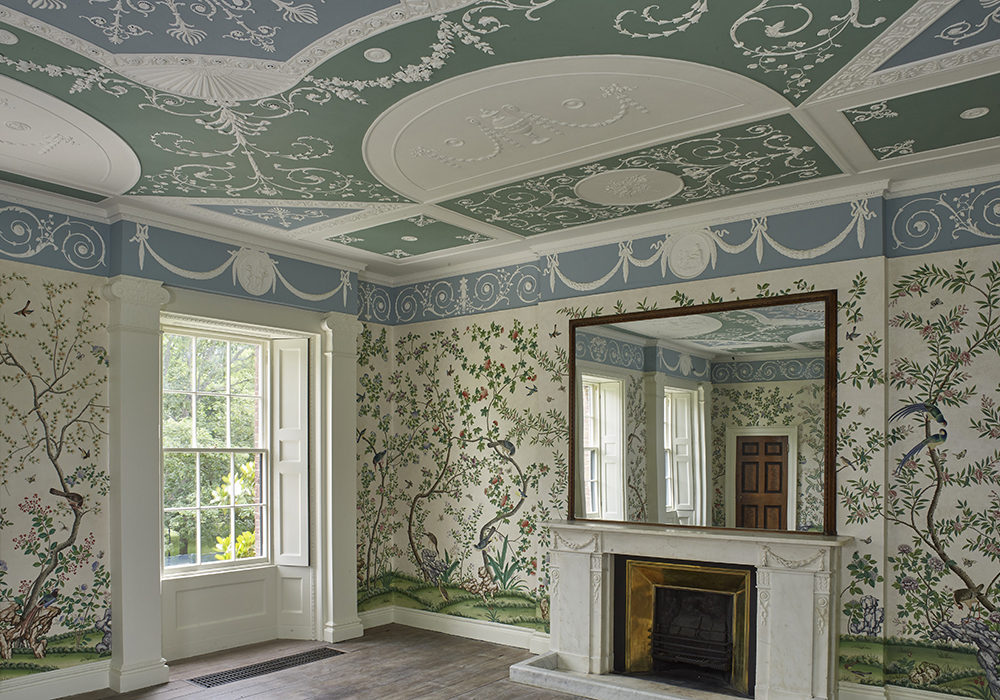 Chinese style wallpaper inside Pitzhanger Manor