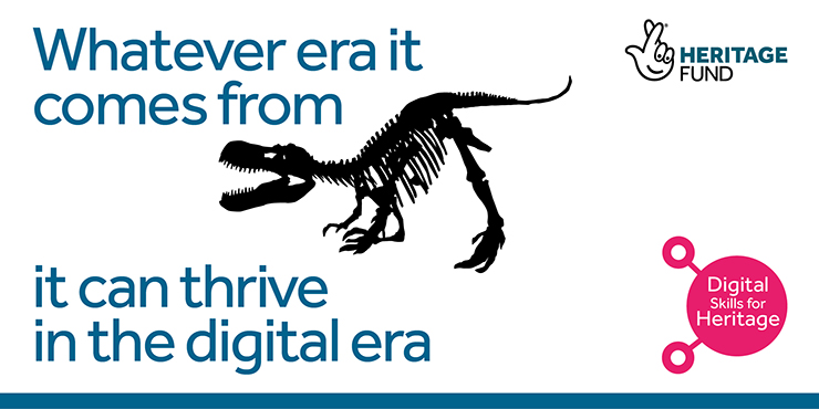 Dinosaur image with text: Whatever era it comes from, it can thrive in the digital era