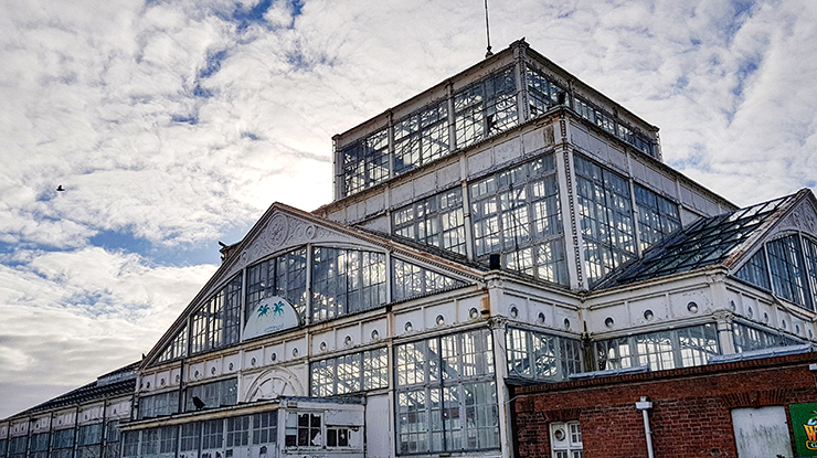 Exterior of glass and iron winter gardens at Great Yarmouth