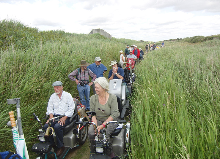 People in wheelchairs enjoying RSPB Minsmere