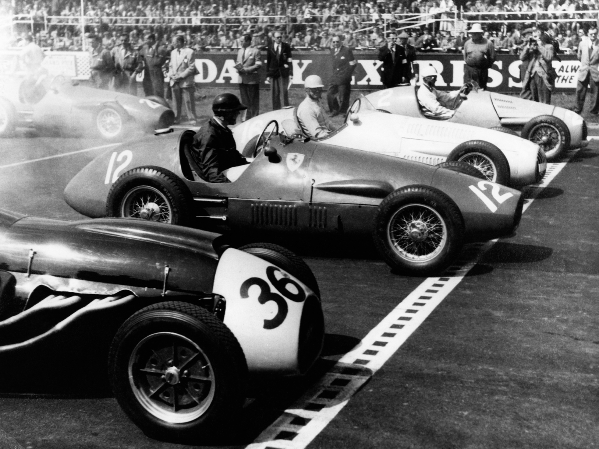 Black and white photograph of vintage cars