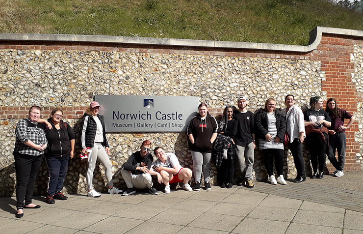 Teenagers outside Norwich Castle