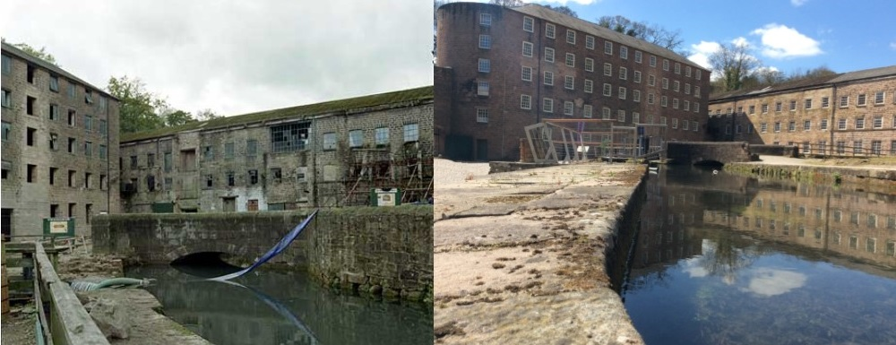 Before and after photo of Cromford Mills
