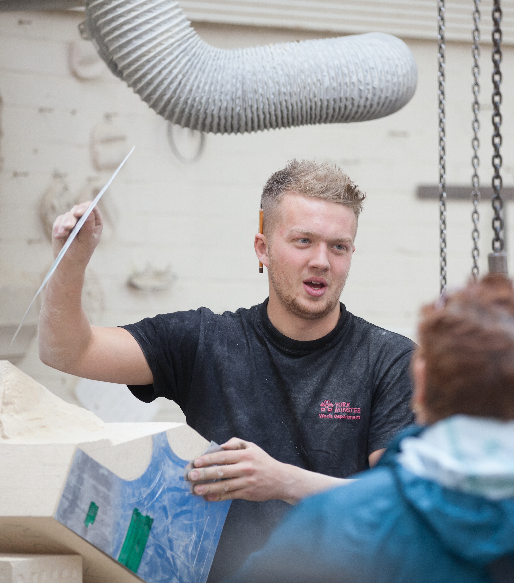 Trainee stonemason, Sam Turner