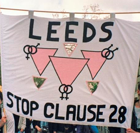 A banner from Leeds, protesting the controversial 1988 'Section 28' legislation