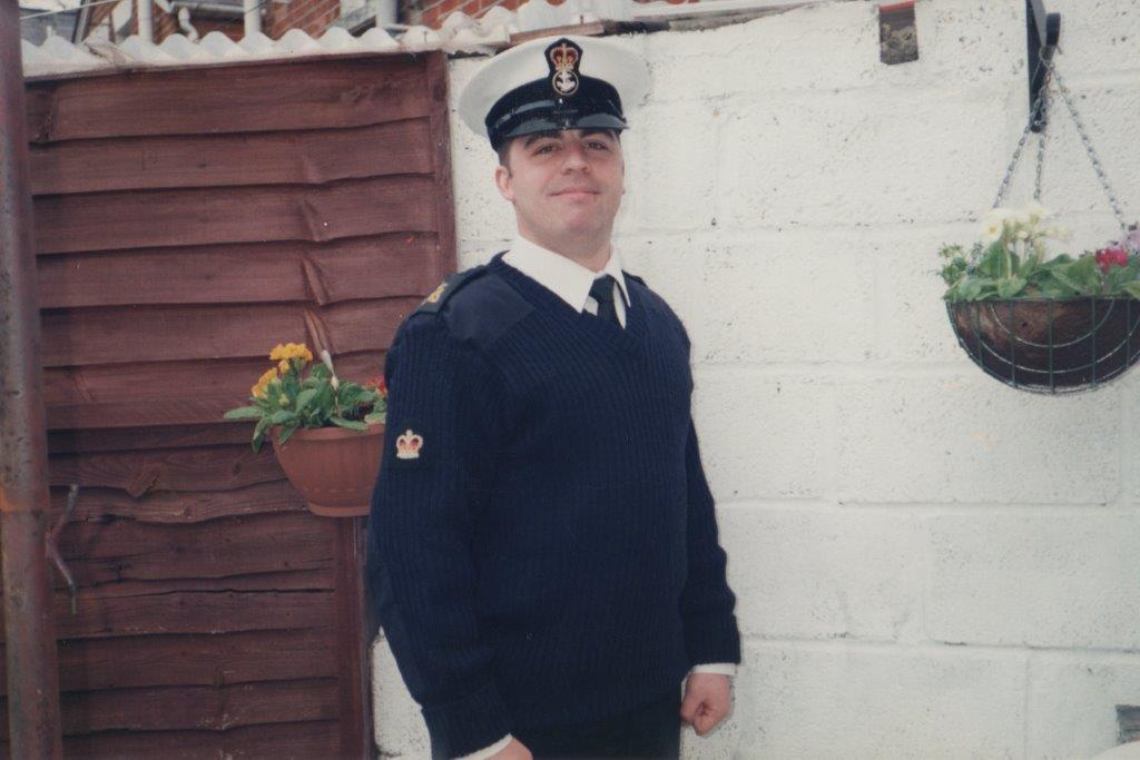 Neil Clements in his Royal Navy uniform