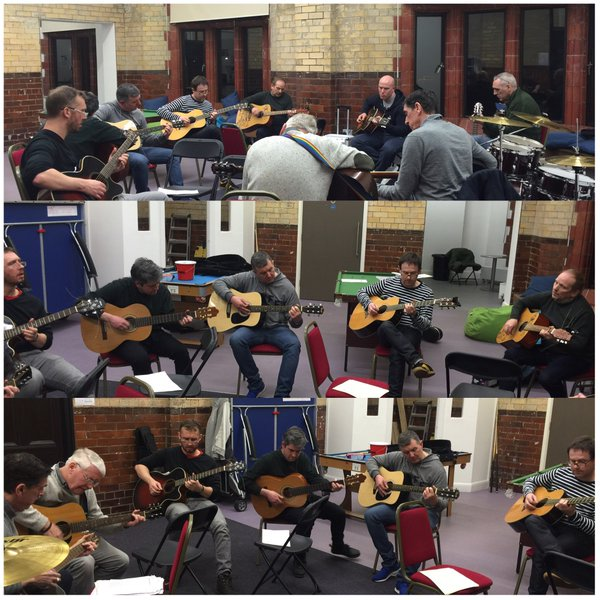 A collage showing a music group playing guitars and drums at The Florrie