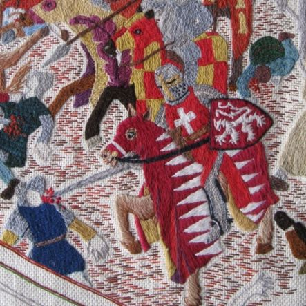 Simon de Montfort depicted in the Battle of Lewes Tapestry